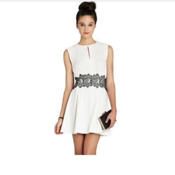 2caba0b8 bcbg white dress with black lace – Little Black Dress | Black Lace ...